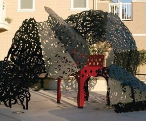 """Dona Benicia's Mantilla (envelops the General's chair)"" by Linda Fleming at Harbor Walk, First Street and East B Street"